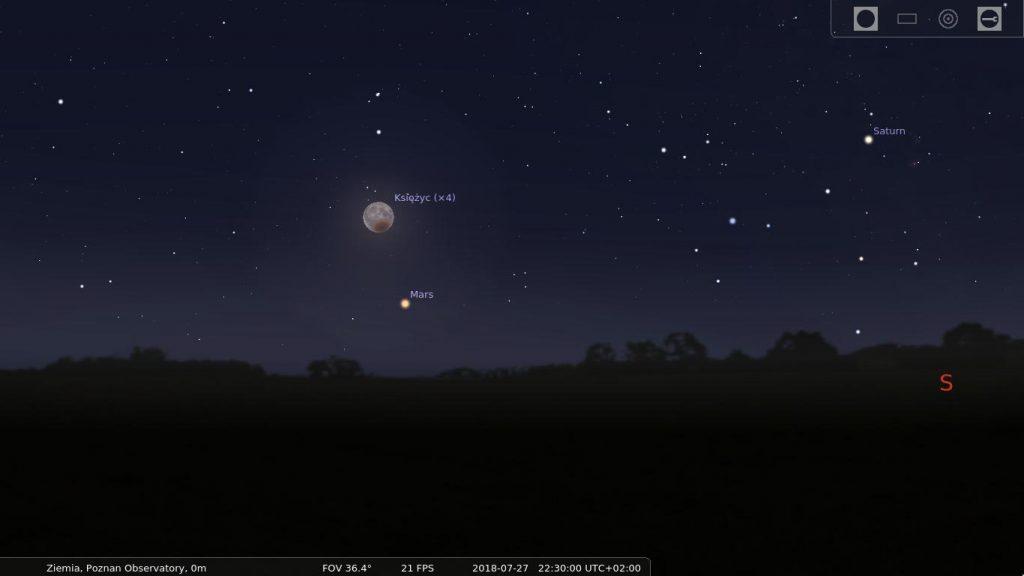 Widok nieba w kierunku południowo-wschodnim ok. godziny 22:30 czasu letniego