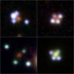 Four of the new discovered quadruple quasars. Image credit: The GraL Collaboration