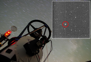 Remotely-controlled telescope RBT in Arizona, which was used by astronomers from the Poznań observatory to observe the satellite debris which was mistaken for a gamma-ray burst. The inset shows a picture taken by the telescope at which the debris (shown by the circle) can be seen